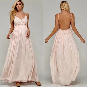 ARIEL Open Back Maxi Dress - PINK